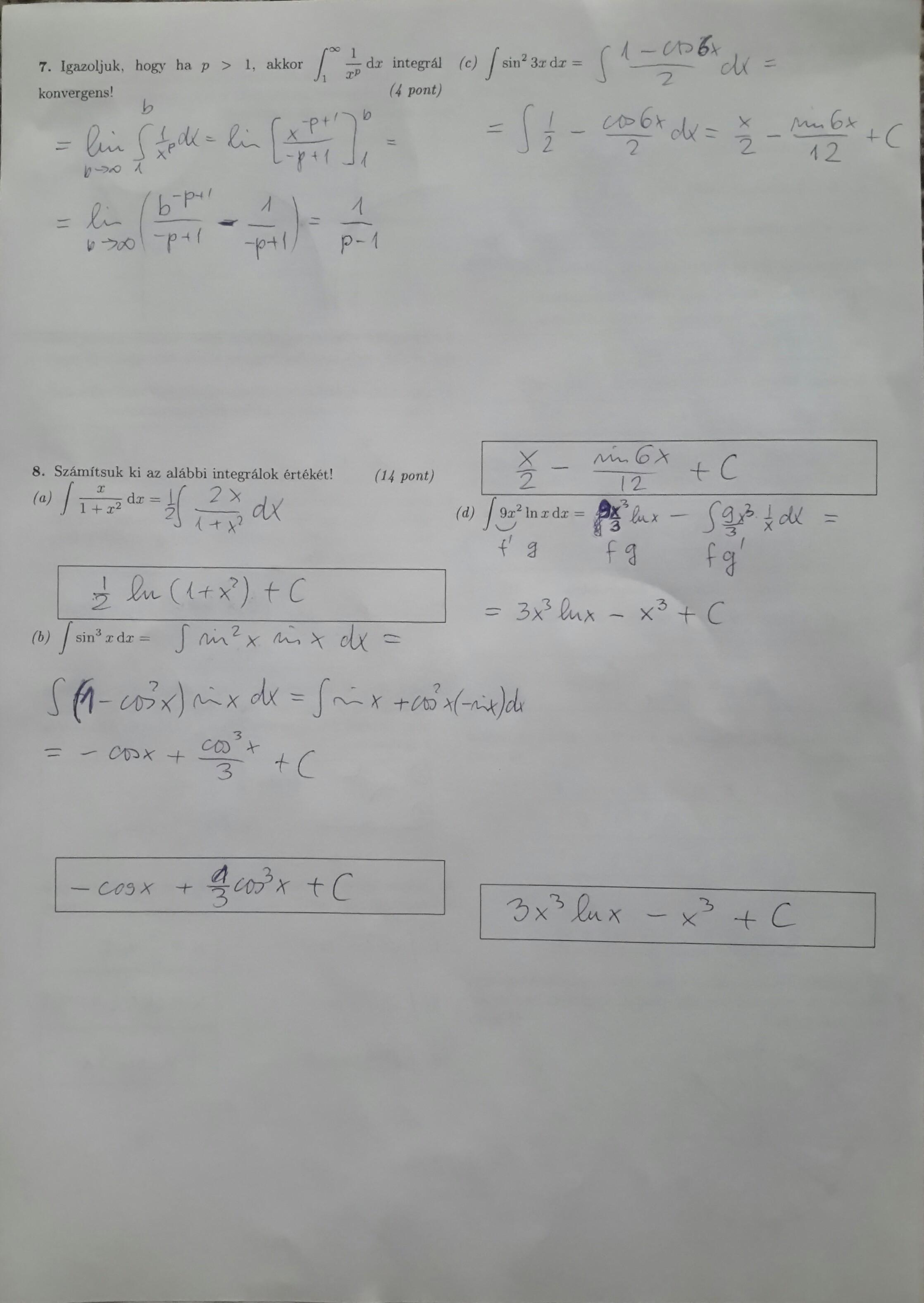 btc 1 félév matematikai vizsga papír